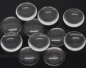 10x (20mm) Clear Glass Transparent Round Circle Cabochon Cameo Cover Cabs