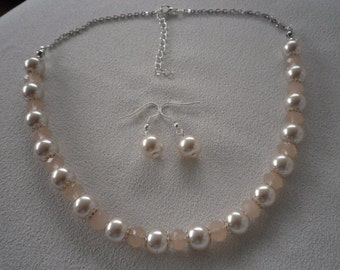SALE Light Pale Peach Pearls Crystals with Silver Accents Necklace and Complimentary Earrings