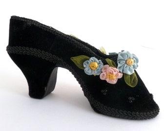 Victorian Miniature Shoe - Black Velvet Shoe with ribbon roses and beads - boudoir decor