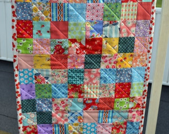 Handmade Quilted Patchwork Reversible Postage Stamp Vintage Style Feed Sack Table Runner Table Mat Dresser Mat Dresser Runner Cottage Style