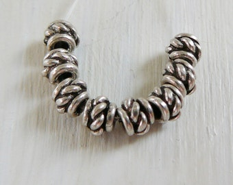 Sterling Silver Bead, Bali oxidized twisted rope design spacer beads 925 jewelry supplies