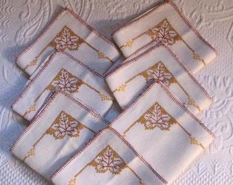 7 napkins . Cross Stitch napkins . embroidered Linen Napkins .   Arts and Crafts linens .  Embroidered Leaves napkins