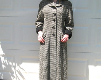 Houndstooth Coat . 50s Black and White Coat . 50s Coat