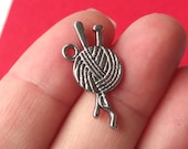 10 Needle and Yarn Charms 26X11mm ITEM:X14