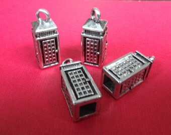 8 Telephone Booth Charms 23x8x8mm  hole: 2~4.5mm