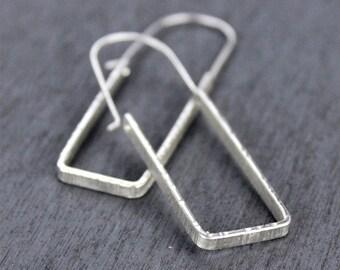 Rectangle Earrings, Modern Geometric Hoop Earrings, Minimalist Jewelry