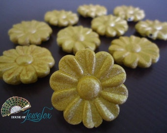 Gold Acrylic Rose Flower Beads with sparkle, 30mm - 10x