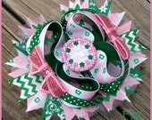 Boutique Green Pink Pinch Proof St Pattys Hair bow