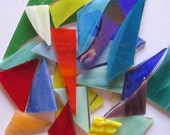 Scrap Stained Glass 3 lbs. Opaque and Wispy - Small Flat Rate Box Full