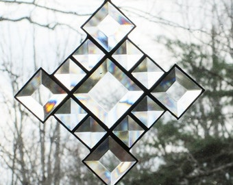 Stained Glass Suncatcher-  Clear Bevels