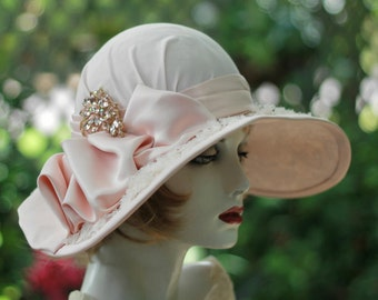 Wedding Hat for Summer, Wide Brim, Garden, Tea Party, Races, Lace, Downton Abbey Size Small