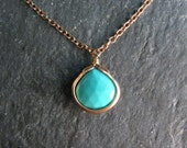 "Natural Turquoise Necklace - Arizona Turquoise Teardrop 16 - 18"" - Robins Egg Blue - Pendant Necklace - Modern Romance"