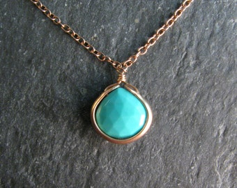 Modern Turquoise Necklace with Bronze - Natural Arizona Turquoise Teardrop - December Birthstone - Pendant Necklace - Modern Romance