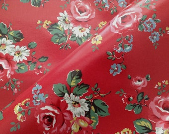 3960 - Cath Kidston Kentish Rose (Dark Red) Oilcloth Waterproof Fabric - 28 Inch (Width) x 17 Inch (Length)