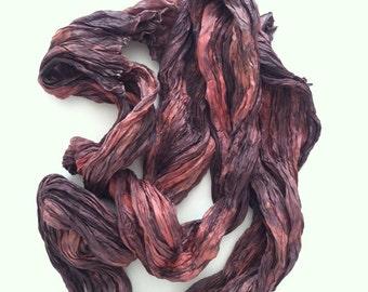 Orange Purple Silk Scarf / Hand Dyed Silk Scarf / Fiber Art / from Textured Silks Collection - Wild Plum