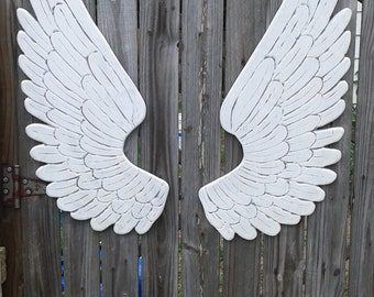 Wood Carved Angel Wings in Nikki  3ft x 14 White with Grey and Silver Pearl Glaze