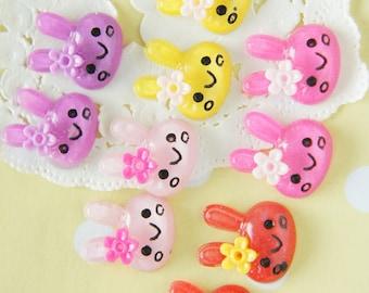 10 pcs Kawaii Clear Glitter Bunny Cabochon - DR469 (((LAST)))