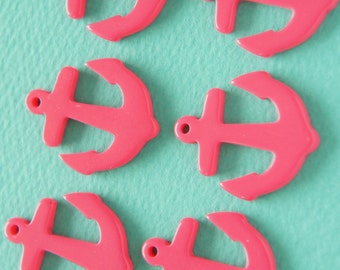 6 pcs Small Anchor Charm (27mm31mm) Dark PInk AZ034