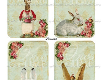 Bunnies - 3.5 x 5 inches -  Printable Digital Collage Sheet - Digital Download