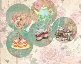 Tea and Cakes  - 1 inch circles  -  Printable Digital Collage Sheet - Digital Download