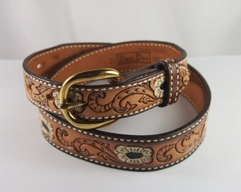 Vintage 60s 70s Tooled Leather Dundee Belt