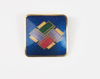 Geometric Enamel Gold Tone Brooch Vintage 70s Jewelry