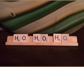 Ho ho ho Christmas Holiday Scrabble Tiles Upcycled Sign