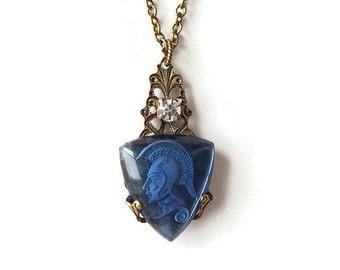 Blue Necklace Intaglio Pendant - Sapphire Blue Intaglio Vintage Jewelry - Greek Warrior Necklace - Trojan Necklace (SD0927)