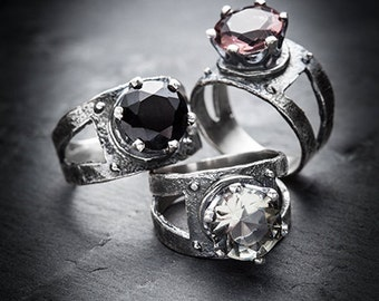 QUEEN Of The DAMNED silver and CZ ring