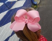 Large Loopy Style Grosgrain Hair Bow in Solid Pink