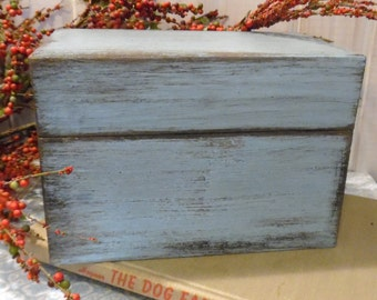 Recipe Box ~ Bird Egg Blue ~ Kitchen ~ Recipes ~ Wedding Gift ~ Excellent Chef ~Cottage Decor ~ Primitive