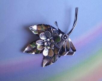 Vintage 40s Sterling Silver Flower Leaf & Bow Pin