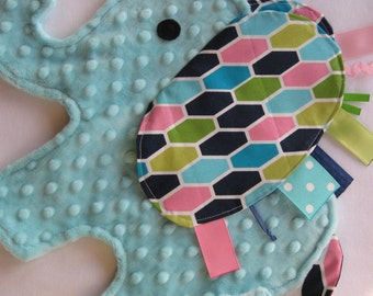 CYBER MONDAY SALE! Honeycomb Blue Elephant Shaped Sensory Security Blanket Lovey