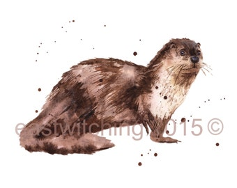 OTTER Watercolor print, otter painting, wildlife art, 8x10 print, ready to frame