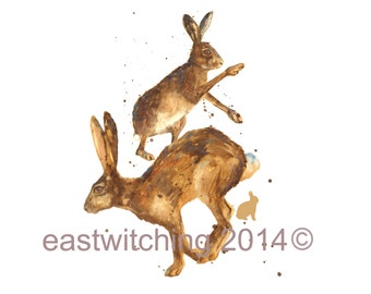HARE Art Print, For she  who is as Mad as a March Hare, whimsical hare art, springtime,