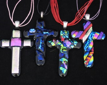Dichroic Fused Glass Cross Pendant with Cord