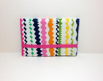 Colorful ric-rac card holder.  Business card holder.  Card case for business cards, loyalty cards, credit cards, gift cards.