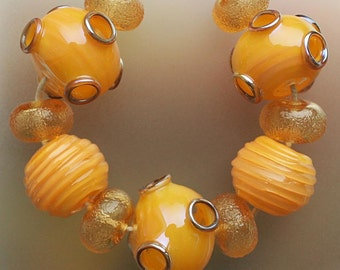 Butter Yellow Volcano - Handmade Lampwork Hollow Beads Set SRA