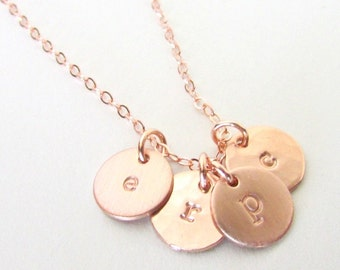 Rose Gold Initial Necklace - Rose Gold Letter Charms - Personalized Initial Jewelry - 14K Rose Gold Filled - Little Initial Charm Necklace