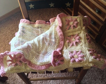 Crocheted- Baby Blanket- Wrap- Throw-CLEARANCE
