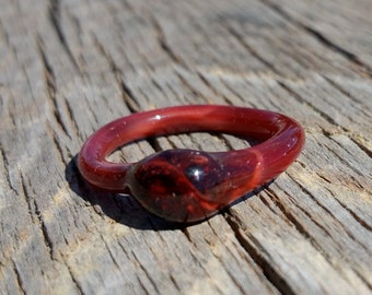 Glass Ring with Ruby Red Color Size 7 Hand Sculpted