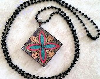 Colorful Floral Pendant Necklace
