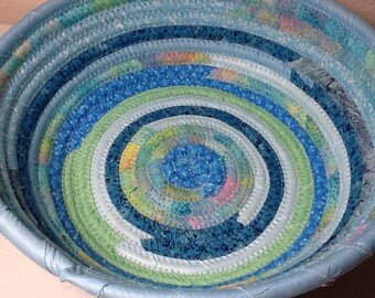 Large Bohemian Coiled Fabric Cotton Basket or Bowl or Pet Bed - Blue Multicolored- Storage and Organization handmade