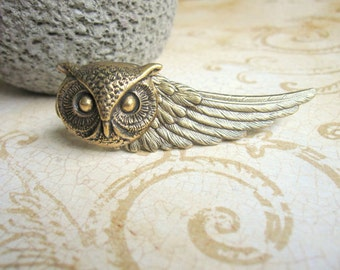 Owl Tie Bar, Wing Tie Clip, Woodland Owl, Owl Head, Owl Tie Clip, Men's Steampunk, Woodland Wedding,  ORIGINAL DESIGNER Days Long Gone