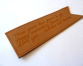 Leather Bookmark, Double Sided, Dark Mustard