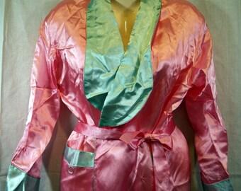 Pink and blue satin kimono style robe