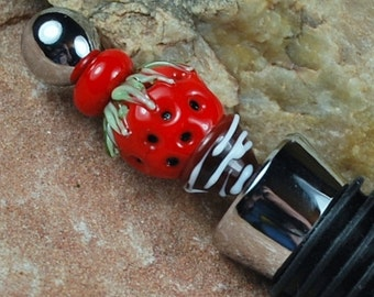Wine Stopper, Lampwork Bead, Chocolate Strawberry, W831 by CC Design