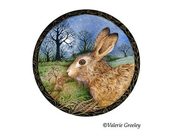 Full Moon Hare Miniature Print