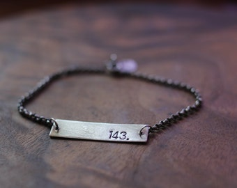 personalized bracelet: reversible rectangle bar hand stamped unisex nameplate (made to order)