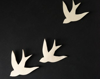 Porcelain swallows wall art Wall sculpture Bathroom Art Bathroom decor Modern decorative ceramic wall decor Set of three birds